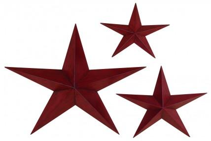 Red Metal Stars - Set of 3