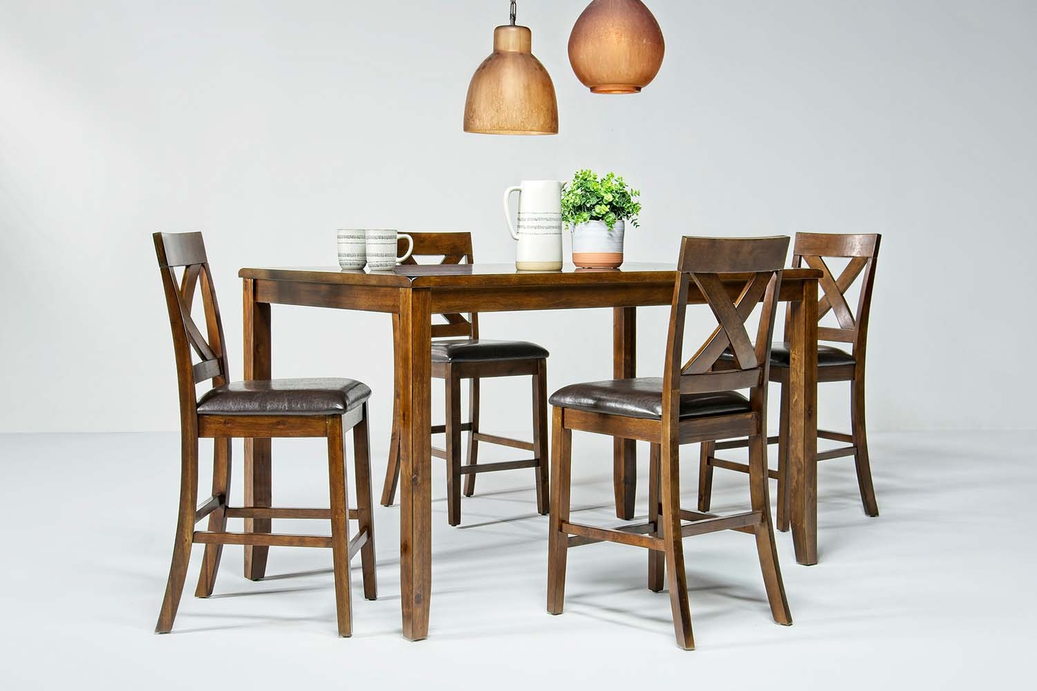 Alex Counter Table with 6 Stools in Espresso | Mor Furniture