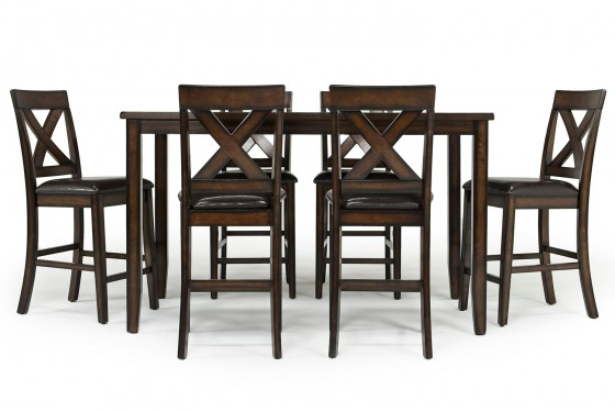 Palm Springs Counter Height Table With 6 Chairs In Brown