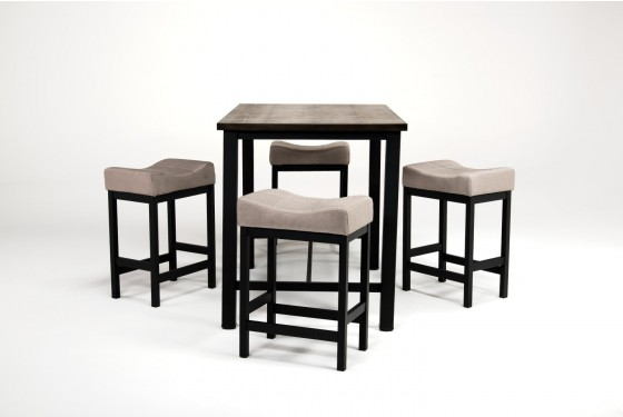 Rustic Pub Table With 4 Stools In Walnut Media Image 1