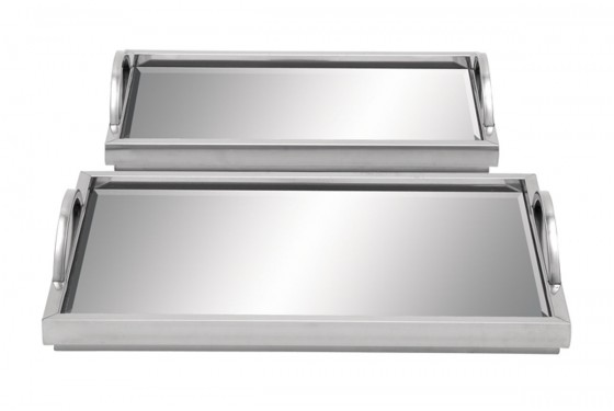 Silver Mirrored Trays - Set of 2 Media Image 1