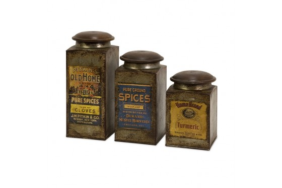 Addie Vintage Label Wood And Metal Canisters - Set of 3 Media Image 1