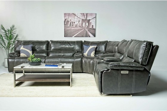 Sofia 3-Power Leather Living Room in Gray | Mor Furniture