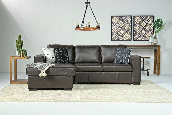 Claire Leather Right Facing Chaise Sleeper Sofa In