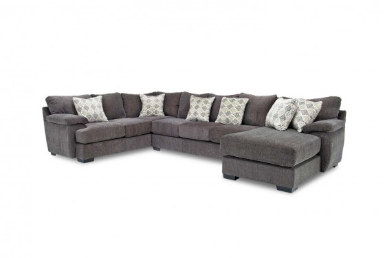 Bermuda Right Facing Sofa Chaise Sectional In Charcoal Media Image 1