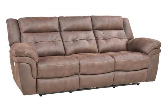 Glenn Brown Fabric Power Sofa | Mor Furniture