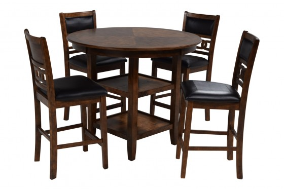 Gia Light Brown Counter-Height Table & 4 Stools Media Image 3