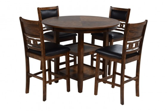 Gia Light Brown Counter-Height Table & 4 Stools Media Image 2