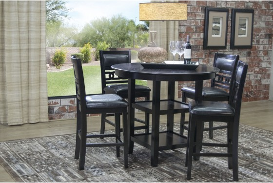 Gia dark brown counter height table with stools mor