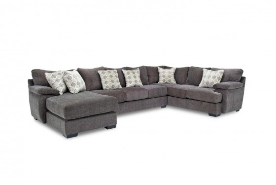 Bermuda Down Left Facing Sofa Chaise Sectional In Charcoal