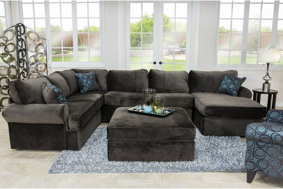 Napa Chocolate Left-Facing Sectional Media Image 2