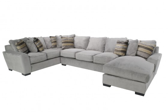 Oracle Down Right-Facing Sofa Chaise Sectional in Platinum Media Image 1