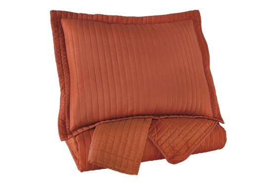 Raleda Orange King Coverlet Set Media Image 3