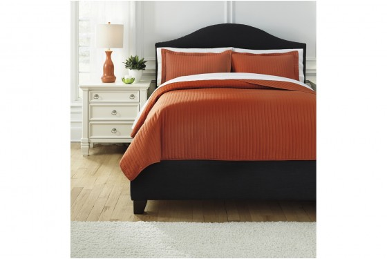 Raleda Orange King Coverlet Set Media Image 1