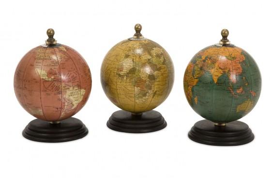Antique Finish Mini Globes on Wood Base Media Image 1