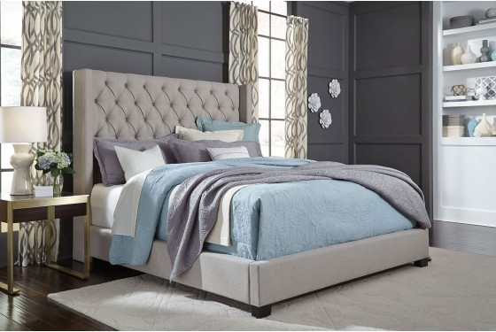 Westerly King Upholstered Bed in Gray Media Image 3