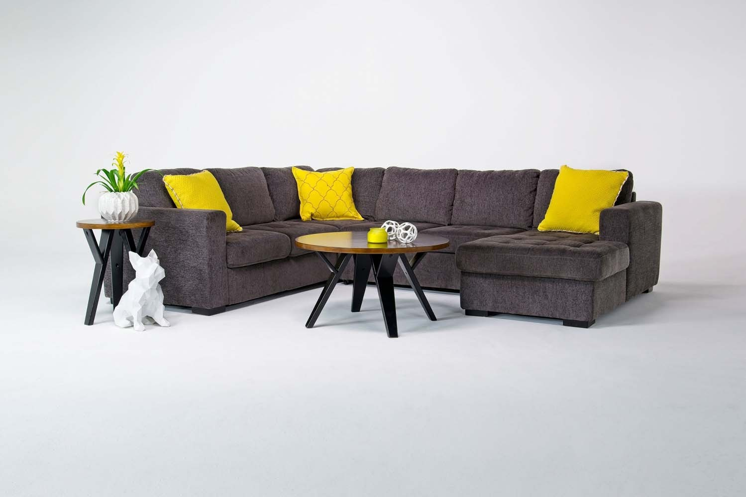 Claire Sectional Living Room In Gray Media Image 1