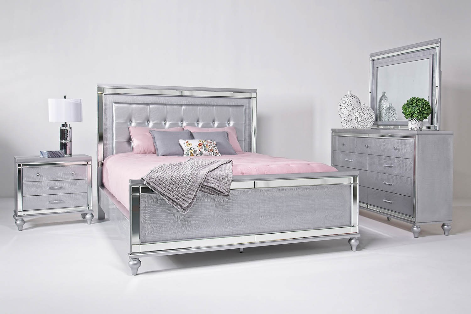 Stern And Foster >> Valentino Bedroom in Silver | Mor Furniture