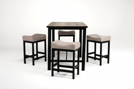 Rustic Pub Table with 4 Stools in Walnut