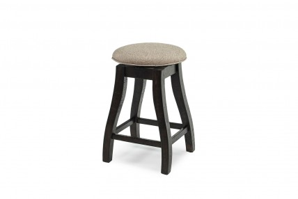 Stone Upholstered Swivel Stool in Charcoal