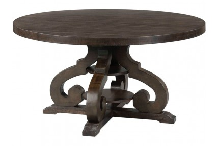 Stone Round Table in Charcoal