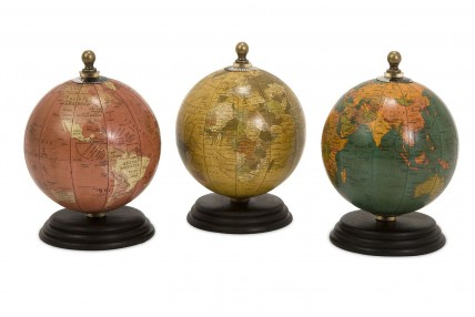 Antique Finish Mini Globes on Wood Base