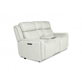 Ice 3-Power Console Loveseat in White