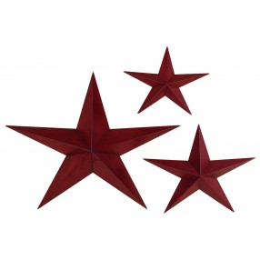 Red Metal Stars - Set of 3