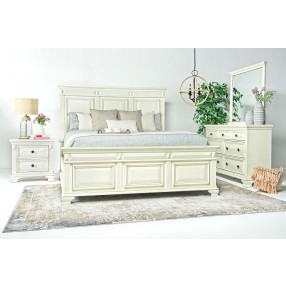 Calloway Panel Bed, Dresser, Mirror & Nightstand in White, Eastern King