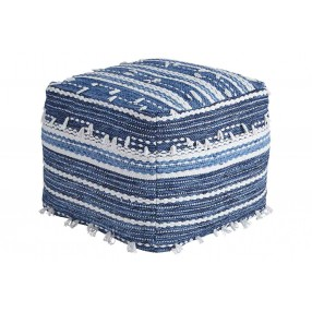 Anthony Blue and White Nubby Pouf