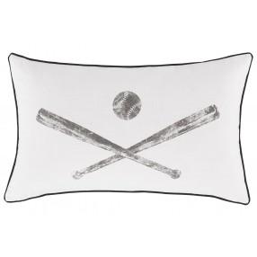 Baseball Throw Pillow in White/Gray
