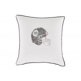 Football Helmet Throw Pillow in White/Gray