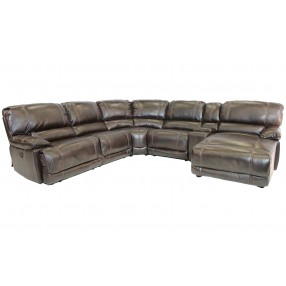 Azul Air 6-Piece Right-Facing Chaise Sectional in Brown