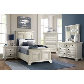 Calloway Panel Bed, Dresser, Mirror & Nightstand in White, Twin