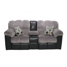 Fountain Reclining Console Loveseat in Gray