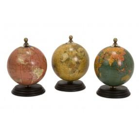 Antique Finish Mini Globes on Wood Base