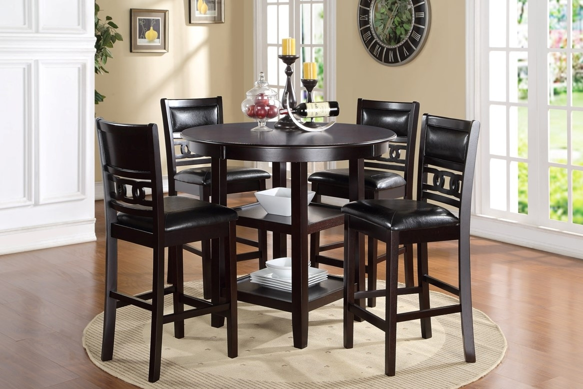 Gia Counter-Height Table with 4 Stools in Dark Brown | Mor ...