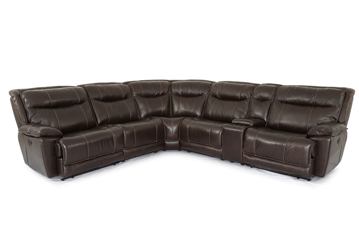Miraculous Boba Reclining Leather 6 Piece Sectional In Brown Mor Gmtry Best Dining Table And Chair Ideas Images Gmtryco